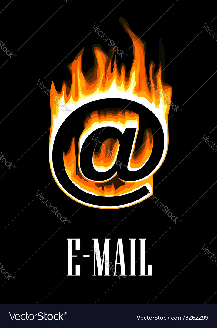 E-mail icon going up in flames vector | Price: 1 Credit (USD $1)
