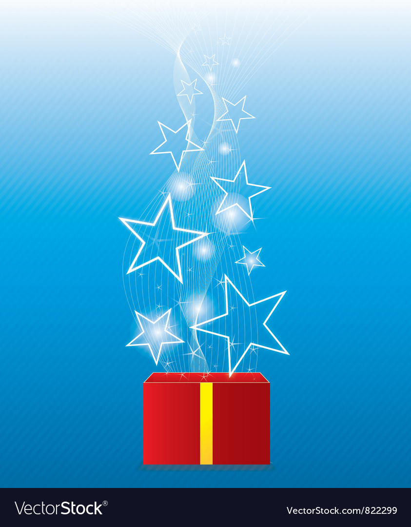Glowing star floating from giftbox vector | Price: 1 Credit (USD $1)