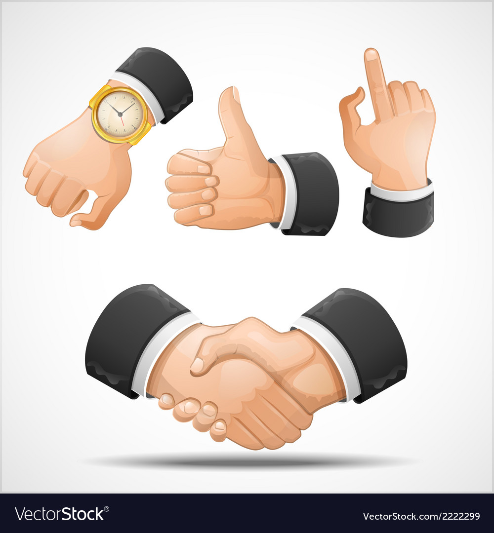 Handshake and hand gestures vector | Price: 1 Credit (USD $1)