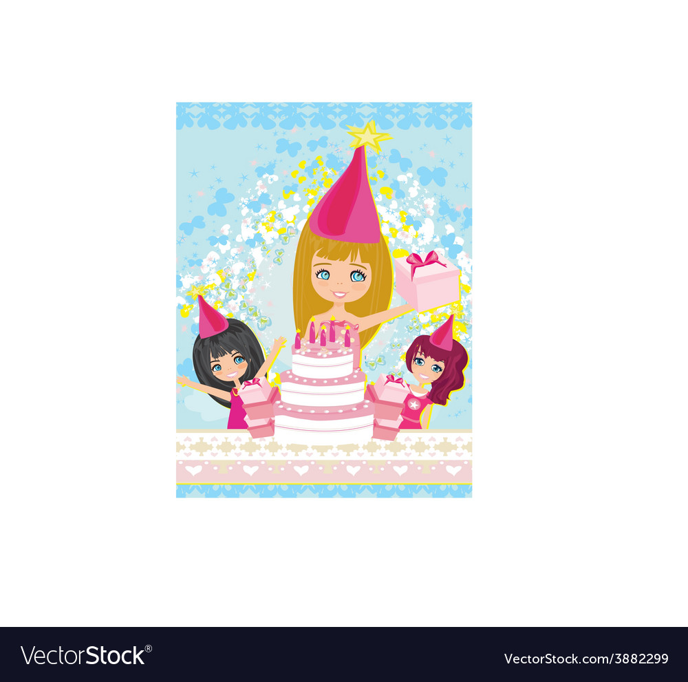 Kids celebrating a birthday party vector | Price: 1 Credit (USD $1)