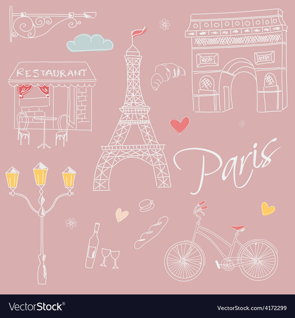 Paris symbols postcard hand drawn vector