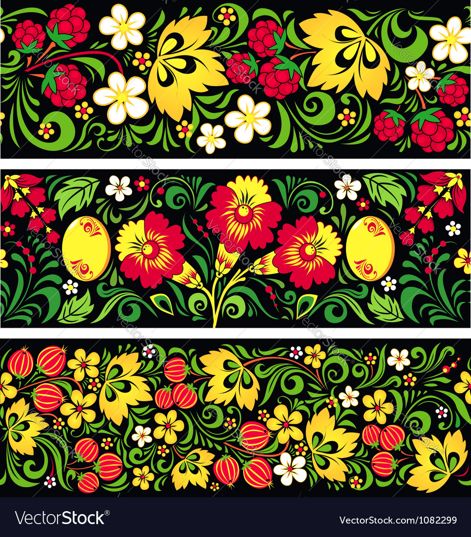 Patterns in traditional russian style hohloma vector | Price: 1 Credit (USD $1)