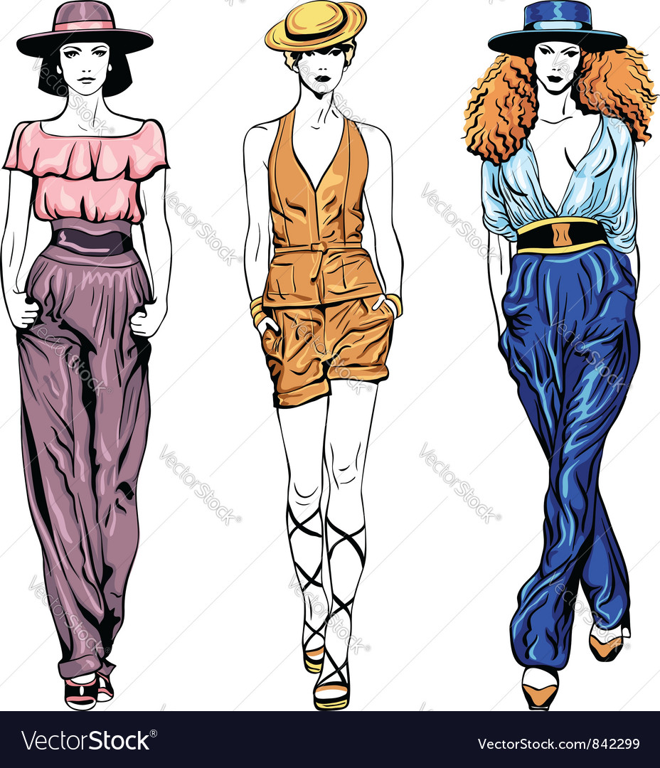 Set fashion top models in trouser suits and vector | Price: 1 Credit (USD $1)