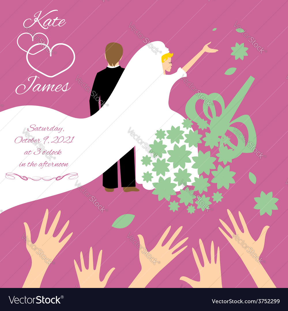 Wedding couple bride throws her wedding bouquet vector | Price: 1 Credit (USD $1)