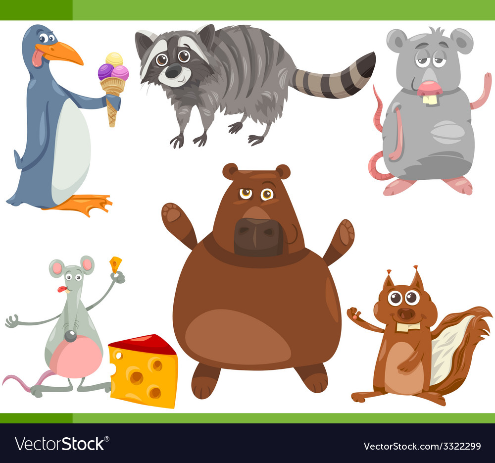 Wild animals cartoon set vector | Price: 3 Credit (USD $3)