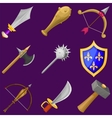 Set of cartoon weapon icons vector