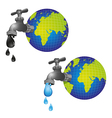 Conceptual taps out of the planet earth and drippi vector