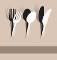 Paper cut fork spoon and knife vector