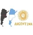 Argentina border shape flag and hand drawn sun vector