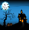 Halloween night background with castle and vector