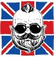 Stylish man with a beard against the union jack vector