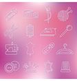 Sewing outline icons vector