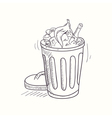 Sketched full trash bin desktop icon vector