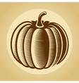 Pumpkin label in retro vintage style vector