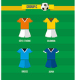 Brazil soccer championship 2014 group c team vector