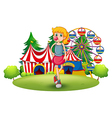 A tall young girl at the carnival vector