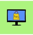 Doodle color online shopping sign vector