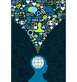 Social media brain communication splash vector