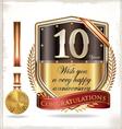 10 years anniversary golden shield vector