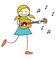 Girl playing guitar vector