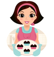 Cute woman cooking cookies isolated on white vector