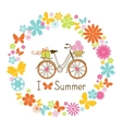 Wreath and bike vector