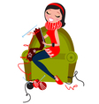 Beautiful woman knitting vector