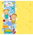 Cute childrens border with beach elements vector