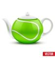 Ceramic teapot in tennis ball style vector