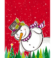Christmas background with snowman and forest of pi vector