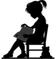 Reading little girl vector