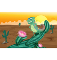Cartoon lizard cactus vector