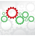 Green and red gears vector