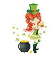 Leprechaun girl with beer vector