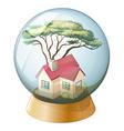 A crystal ball with a house vector