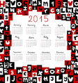 2015 calendar with letters vector