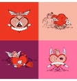 Set of valentine day card colors style vector