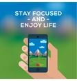 Adventure travel concept smartphone make picture vector