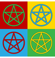Pop art pentagram icons vector