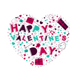 Heart with text happy valentines day vector