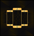 Gold smart phone vector