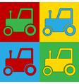 Pop art tractor icons vector