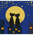 Cats in front of moon vector