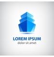 3d blue office building icon logo vector
