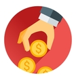 Hand holding money coin red shadow and flat theme vector