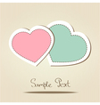 Card with two love hearts vector