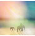 Elephant with mahout and small elephant silhouette vector