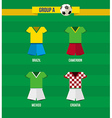 Brazil soccer championship 2014 group a team vector