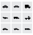 Black vehicles icons set vector