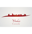 Windsor skyline in red vector